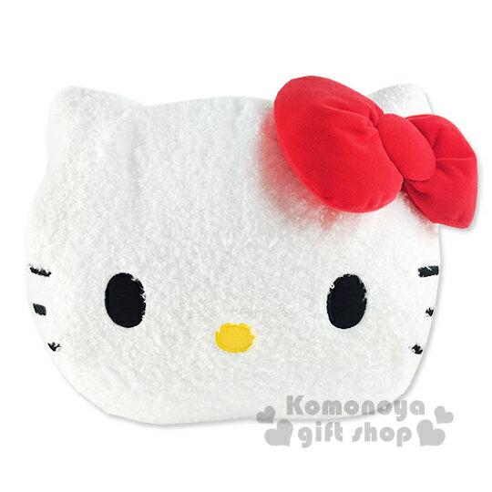 〔小禮堂〕Hello Kitty 造型暖手抱枕《白.大臉》輕鬆增添居家歡樂