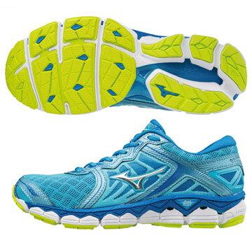J1GD170246(天藍X銀)最新全腳掌波浪片鞋款WAVESKY女慢跑鞋Q【美津濃MIZUNO】
