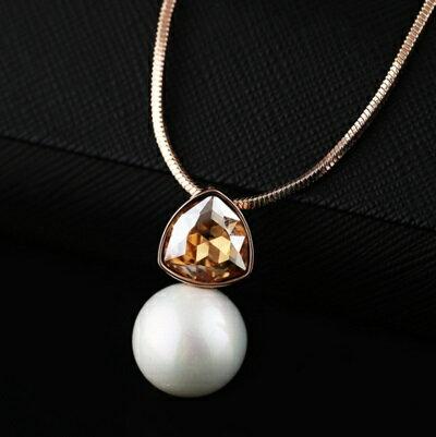玫瑰金項鍊 珍珠純銀吊墜~精美璀璨水晶 情人節生日 女飾品2色73dw12~ ~~米蘭 ~