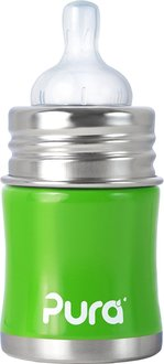 【淘氣寶寶】美國 Pura Stainless Kiki 不鏽鋼奶瓶(寬口徑/綠) 5oz =150ml 不含雙酚A 【保證原廠公司貨】