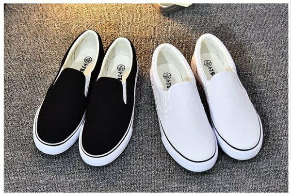 Pyf♥基本款黑白素面帆布懶人鞋中大尺碼女鞋