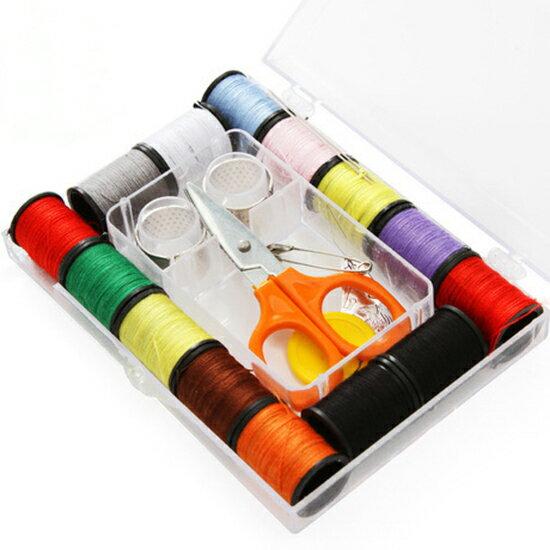 ♚MY COLOR♚縫補套裝便攜式針線盒 縫補工具 套裝 家用 針線 縫衣 針線包 收納盒【P454】