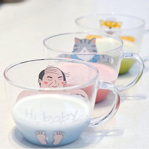 《波卡小姐》趣味!韓國溫泉系列玻璃咖啡杯 歐巴貓咪柴犬卡通馬克杯 情侶對杯 zakka創意雜貨小物 生日禮物[FD-M017]