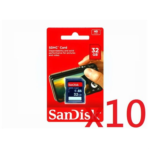 WholeSale 10 piece SanDisk 32GB SD 32G SDHC Class 4 C4 Secure Digital High Capacity Flash Memory Card SDSDB-032G 0