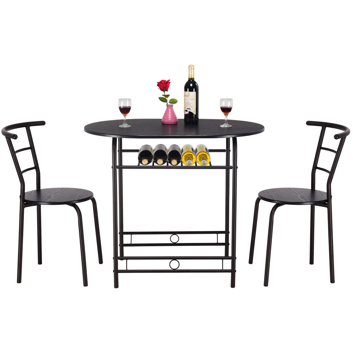 16cf3822f Costway 3 PCS Dining Set Table and 2 Chairs Home Kitchen Breakfast Bistro  Pub Furniture 6
