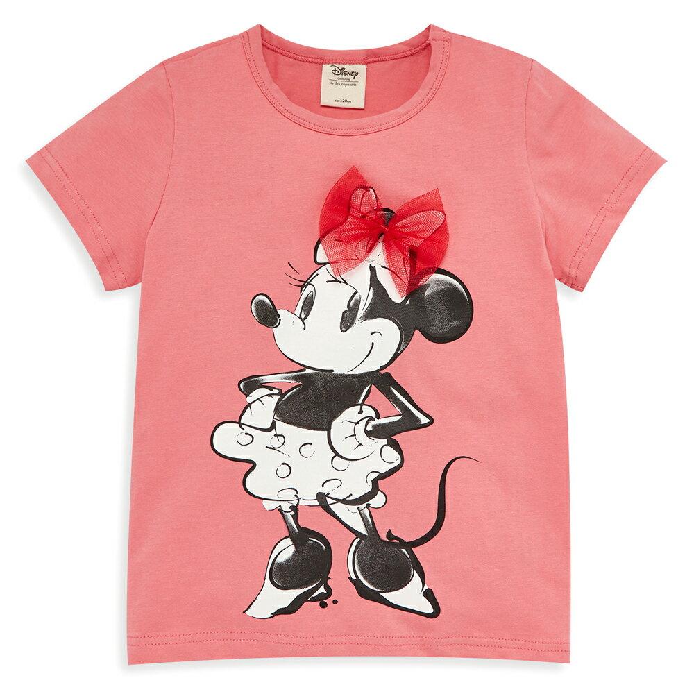 Disney 米妮系列俏麗網紗棉彈上衣-熱情粉 1