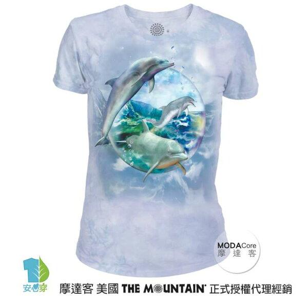【摩達客】(預購)美國TheMountain都會系列海豚水晶球圓領修身女版短T