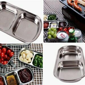 美麗大街【GT107041813E2】韓國燒烤醬料碟調味碟醋盤小菜碟(雙格)