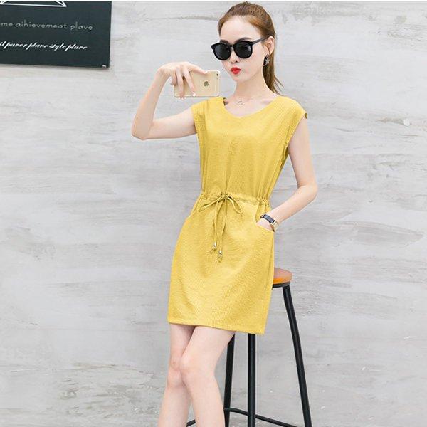 FINDSENSEG5韓國時尚條紋連身裙氣質顯瘦夏季V領休閒裙