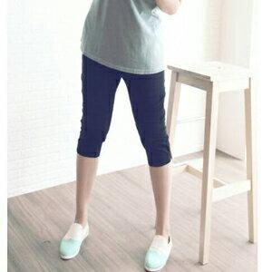 EOOE中大尺碼休閒口袋花邊素面長褲