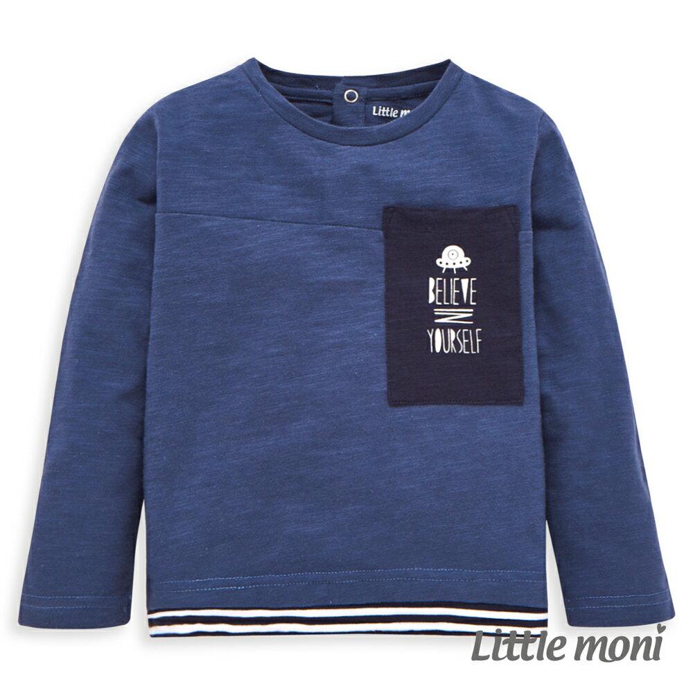 Little moni 太空梭印圖口袋上衣-土耳其藍(好窩生活節) - 限時優惠好康折扣