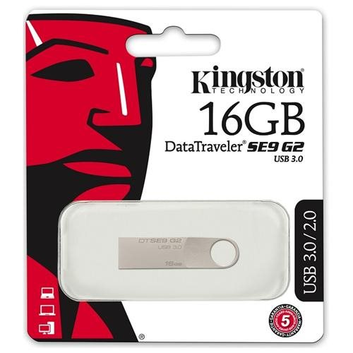 Kingston 16GB DataTraveler SE9 G2 16G DTSE9G2 USB 3.0 100MB/s Metal Flash Pen Thumb Drive DTSE9G2/16GB + USB Lanyard 1
