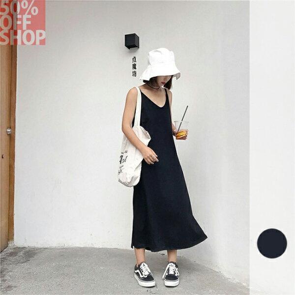 50%OFFSHOP自製簡約百搭外穿吊帶V領連衣裙(1色)【G035481C】