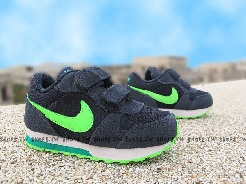 Shoestw【806255-403】NIKE Runner2 復古慢跑鞋 小童 藍螢光綠 黏帶