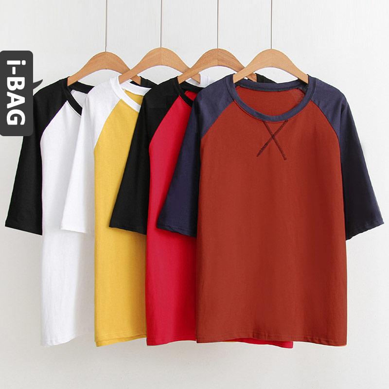 B.A.G*現 + 預*【BT-KF】日系休閒甜美拚色袖打叉短袖上衣(現+預)-4色 - 限時優惠好康折扣