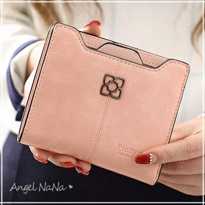 AngelNaNa 風皮夾~ 簡約風 油蠟皮 女短夾 零錢包~M178~