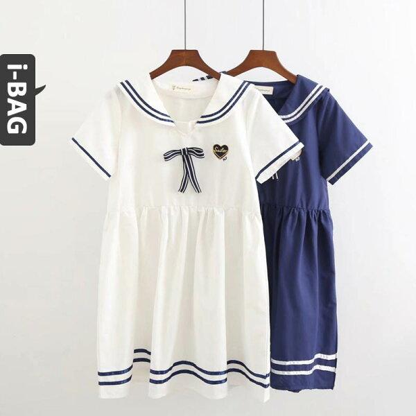 B.A.G*現+預*【DA1478】海軍領愛心刺繡蝴蝶結短袖洋裝(現+預)-2色