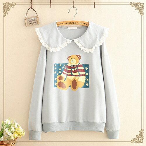 蕾絲邊娃娃領小熊印花薄款衛衣(3色F碼)【OREAD】 1