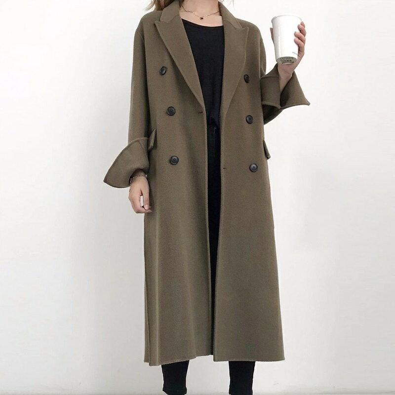 毛呢大衣羊毛外套-純色雙排扣百搭長版女外套3色73wb31【獨家進口】【米蘭精品】 0