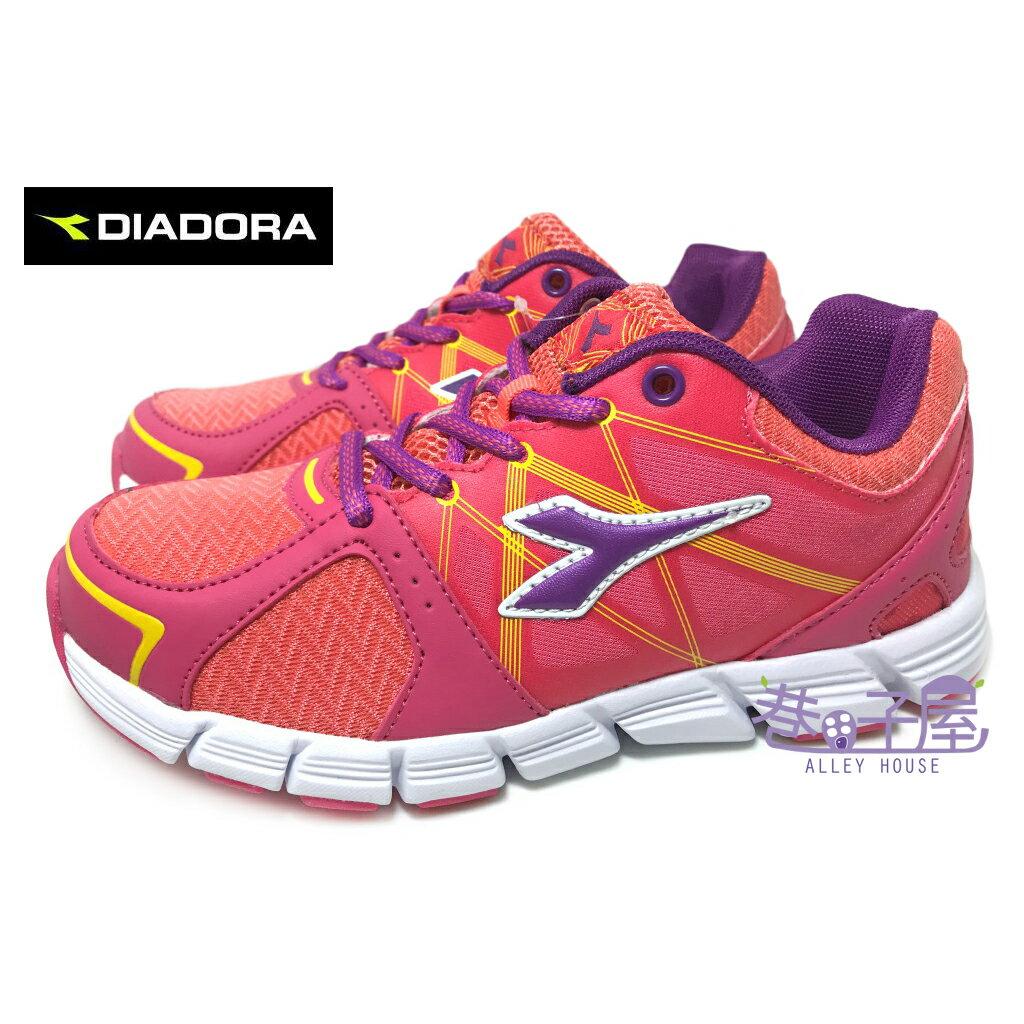 【巷子屋】義大利國寶鞋-DIADORA迪亞多納 女童瓢蟲飛輕量慢跑鞋 [2712] 粉桔