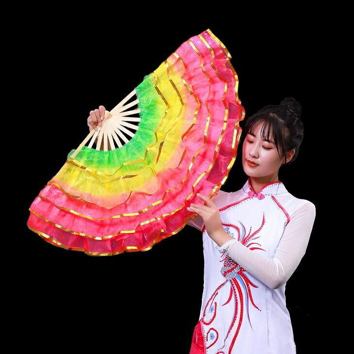 舞蹈扇子一對跳舞扇廣場舞扇子雙面扇兒童成人左右手膠州秧歌扇子