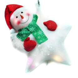 聖誕LED燈25燈雪人抱星星造型燈吊飾SCL-49(插電式-自動閃爍變換光色)YS-DWLED100002 聖誕佈置裝飾推薦