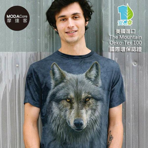 【摩達客】(預購)美國TheMountain都會系列勇戰之狼中性修身短袖T恤