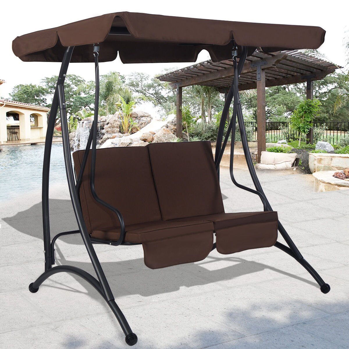 patio product brown garden overstock home canopy today person hammock shipping outdoor costway chair swing free