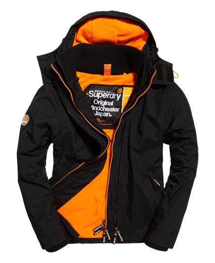 【蟹老闆】SUPERDRY 經典基本款 橘黃色內裡 黑色 防風外套 防潑水機能性風衣外套 有帽黑標 男款