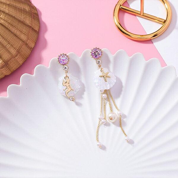 PS Mall 小清新海洋美人魚貝殼不對稱珍珠流蘇耳環 【G092】 2