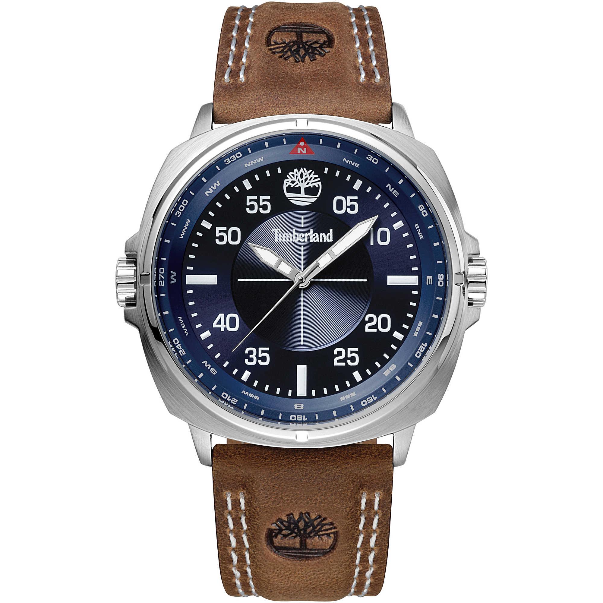 Timberland 天柏嵐 型男皮革時尚手錶 -TBL.15516JS / 03 藍  / 46mm 2