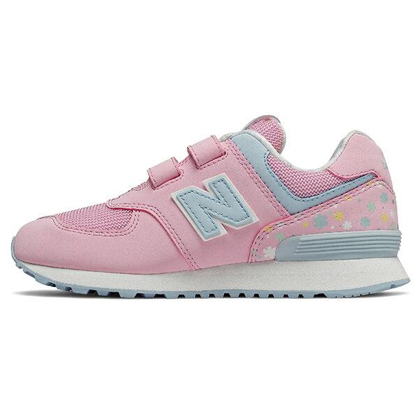 Shoestw【YV574KCR】NEW BALANCE NB574 運動鞋 黏帶 中童鞋 Wide 粉水藍 小花 1