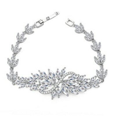 ~純銀手鍊 鍍白金鑲鑽手環~ 晚宴氣質冰菱花生日情人節 女飾品73cv5~ ~~米蘭 ~