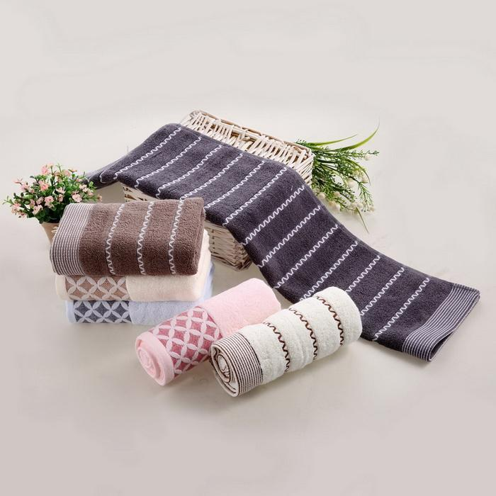 6PCS Cotton Bath Towel Face Shower Towels Set Striped 3