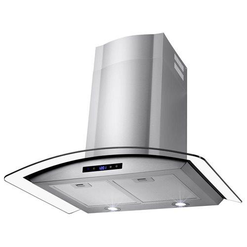 "30"" Stainless Steel Wall Mount Range Hood Touch Screen Control Light Aluminum Mesh Filter 1"