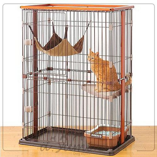 日本BONBI木製2層式貓籠貓籠附貓吊床組