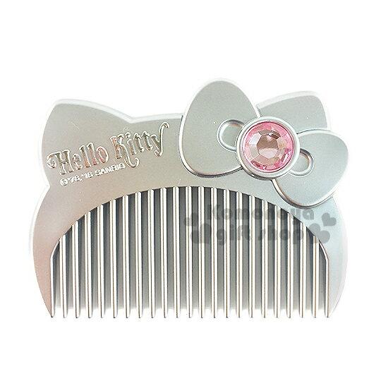 〔小禮堂〕Hello Kitty 平扁梳子《銀.大臉.盒裝》