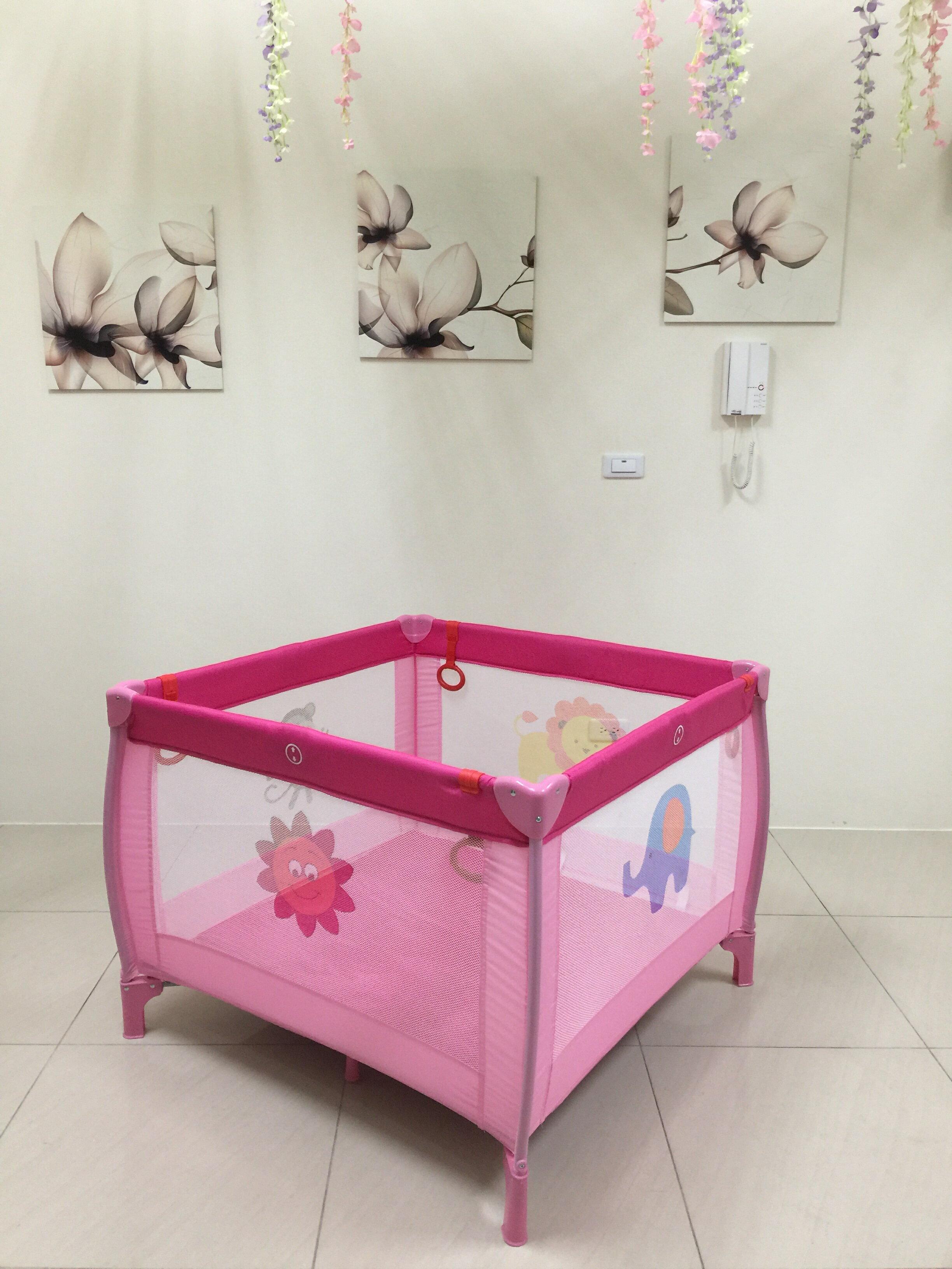加大正方形遊戲床 嬰兒床 摺疊床 護欄 圍欄 附床墊