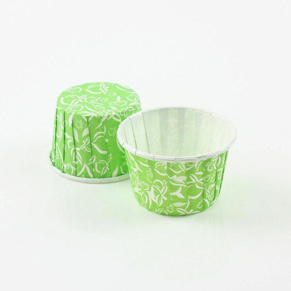 佰勳烘焙包裝材料:瑪芬杯、杯子蛋糕、捲口杯PET4435-13綠底桃紋(100pcs包)