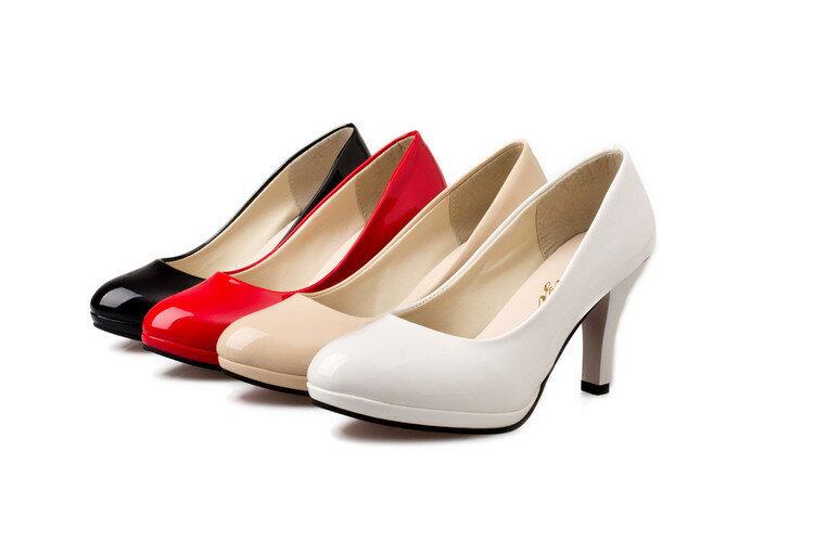 漆皮亮面OL細跟高跟鞋上班鞋-黑/紅/杏/白34-40【a521480247660】