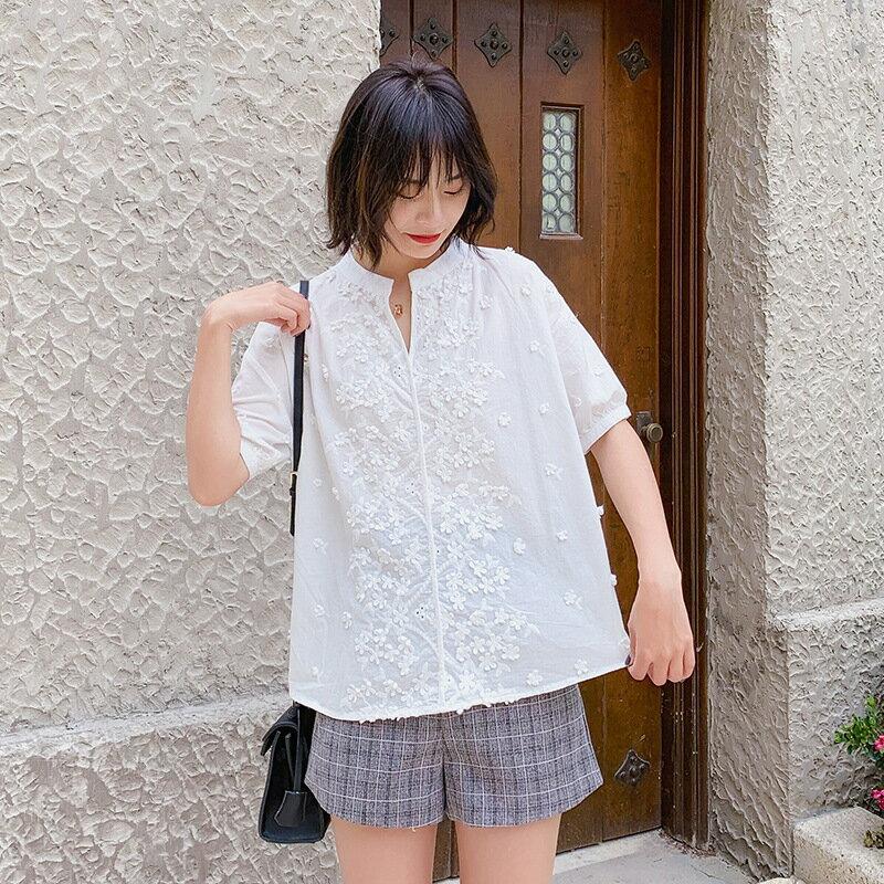 303-1094立體花朵白襯衫女清新夏季女裝韓版新款寬鬆短袖襯衣