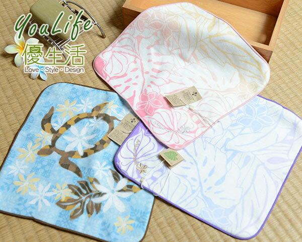 【UCHINO】夏威夷系列 花藤烏龜方巾 100%純棉毛巾 無撚鬆軟速乾 日本品牌 品質安心