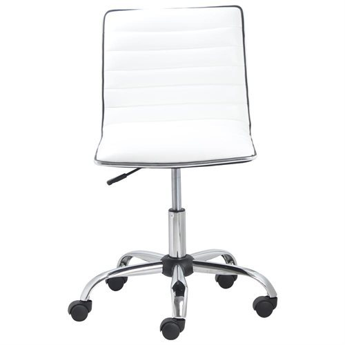 Swivel Low to Mid Back Armless Ribbed Designer Task Leather soft upholstery Chair - White 584d5b23ae8b7fa2f02c6b2c5ecd73f8
