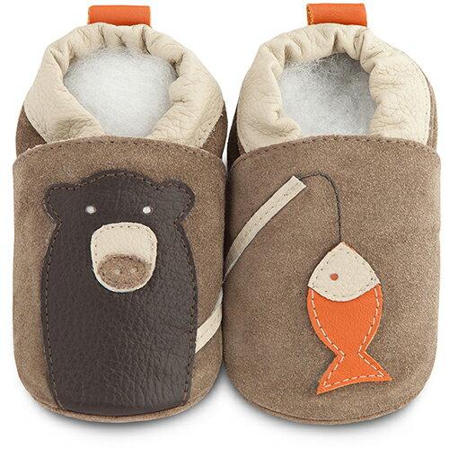 【HELLA 媽咪寶貝】英國 shooshoos 安全無毒真皮手工鞋/學步鞋/嬰兒鞋_棕熊釣魚_SBB54 (公司貨)