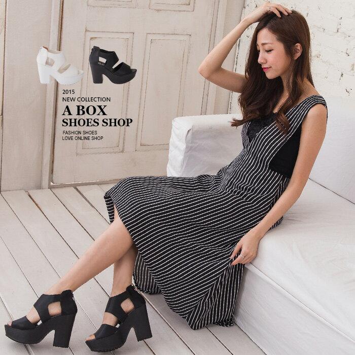 ~KD2778~~  ~MIT 製 韓國街頭穿搭極 款 後拉鍊粗跟寬帶繞踝涼鞋 2色