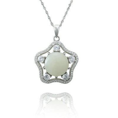 925純銀項鍊 和闐玉吊墜~優美氣質星星 七夕情人節 女飾品2色73de12~ ~~米蘭