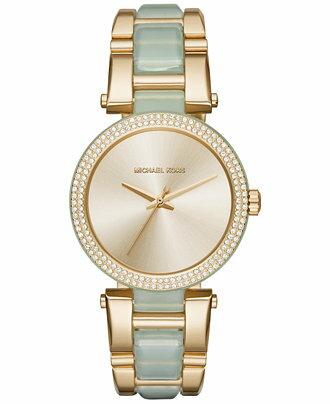 【MICHAEL KORS】正品 Newness款 金色錶面 金銀色精鋼錶帶 MK4317