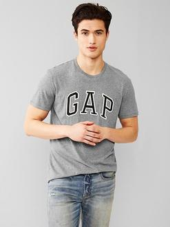 美國百分百【全新真品】GAP T恤 T-SHIRT 短袖 上衣 LOGO 圓領 灰色 貼布 男 XS S L XL號 F215