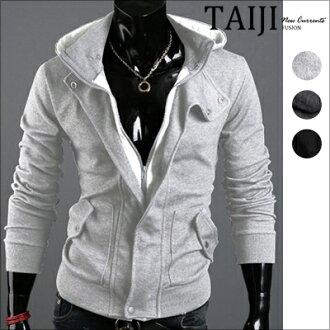 連帽外套‧領口造型假兩件修身休閒連帽外套‧三色‧加大尺碼【ATJBW04】-TAIJI-
