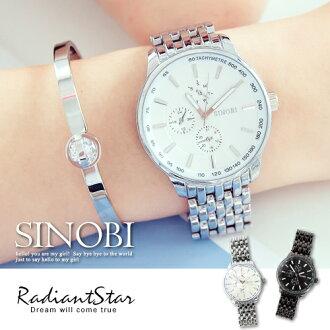 香港SINOBI愛情約會假三眼金屬鍊帶手錶對錶單件【WSI9268】璀璨之星☆